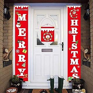 AHEYE زينة عيد الميلاد للمنزل - الحديث مزرعة ديكور - عيد ميلاد سعيد وسنة جديدة سعيدة سانتا الأحمر - عيد الميلاد لافتات للد...