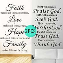 2 Pack Inspirational Wall Decals Quotes,Motivational Word Wall Stickers Quotes,Faith Makes All Things Possible, Love Makes All Things Easy, Hope Make All Things Work (2 Pack Wall Stickers)