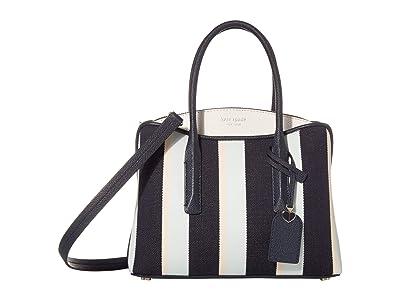 Kate Spade New York Margaux Canvas Stripe Medium Satchel (Blazer Blue Multi) Handbags