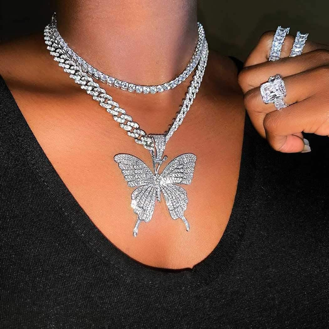 Earent Crystal Butterfly Choker Necklace Cuban Silver Large discharge sale Link Chain 5 popular