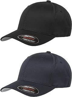 Unisex Wooly Combed Twill Cap (6277) 2-Pack (XL/XXL, Black & Dark Navy)