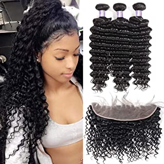 Allove Hair 8a Brazilian Deep Wave Bundles With Frontal (18 20 22+16) Unprocessed Virgin Human Hair Weave Wet and Wavy Bundles with Ear to Ear Frontal Lace Closure with Baby Hair