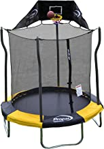 Propel Trampolines Indoor/Outdoor Trampoline with Enclosure, 7-Feet Round by 86-Inch Tall, Yellow and Black Frame Pad