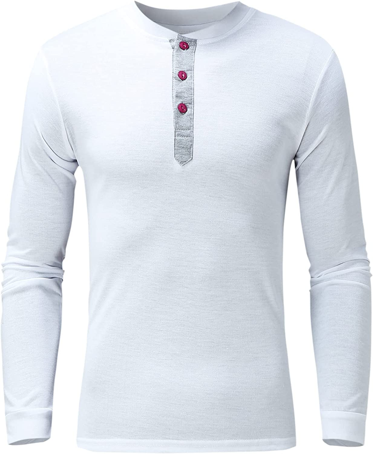 Huangse Men's Muscle T Shirts Stretch Long Sleeve Workout Tee Casual Slim Fit Polo Shirt Button Fishing Outdoor Blouse