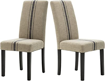 Modern Upholstered Stripe Dining Chair, Retro Formal Elegant Dining Chairs with Navy Blue Stripe Pattern