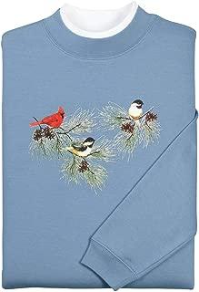 Miles Kimball Chickadees & Cardinal Sweatshirt - Long Sleeve Crew Neck – Slate Blue