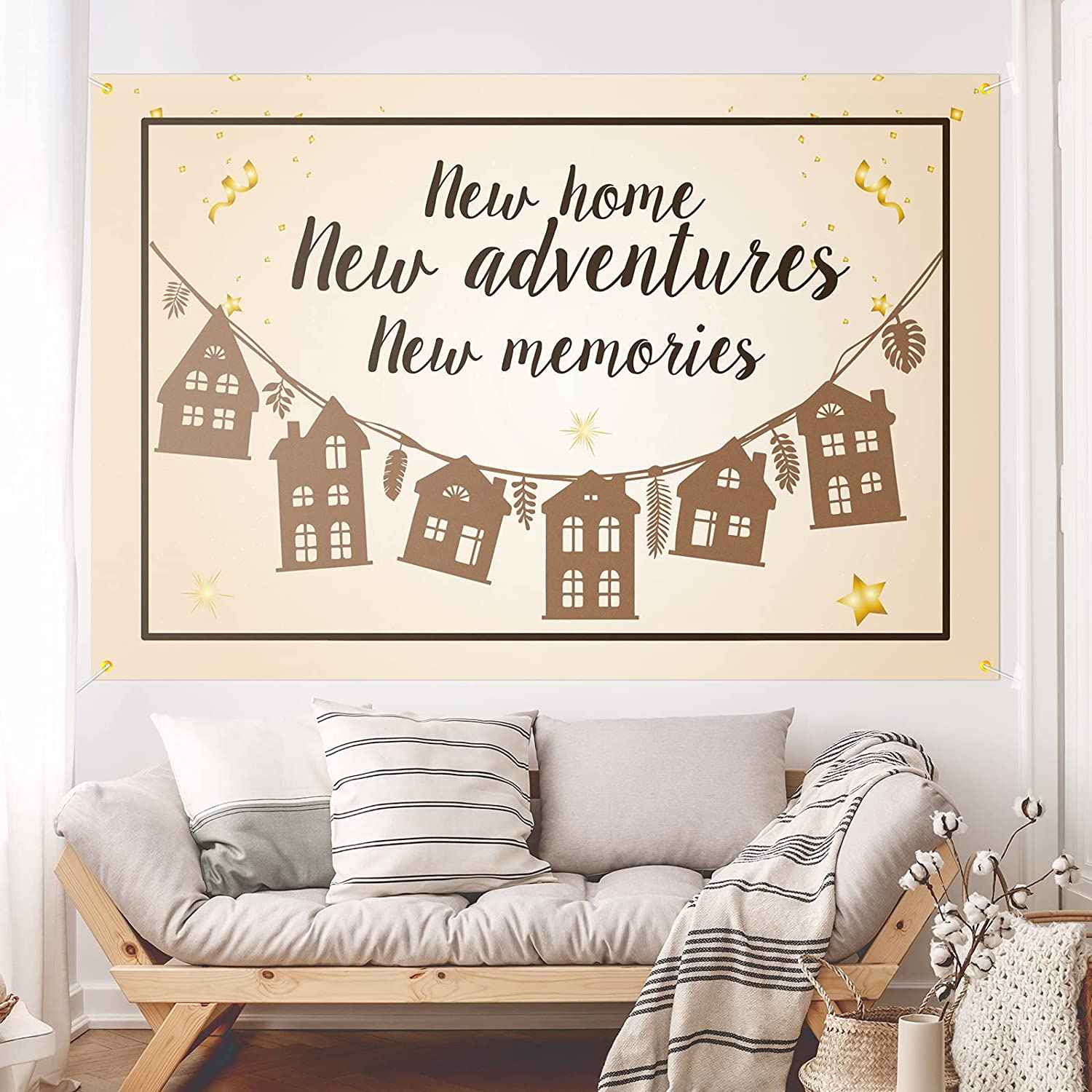 New Home New Adventures New Memories Backdrop Banner Decor Brown – Housewarming Party Theme Decorations New House for Women or Men Supplies