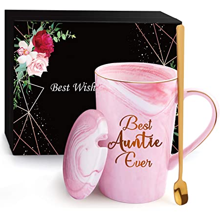 Birthday Gifts for Women - Xourspaty Best Auntie Ever - Funny Mother's Day Birthday Ideas for Aunt Friend Female - BAE Gift from Niece Nephew - Christmas Teachers Day Ceramic Marble Mug 14oz