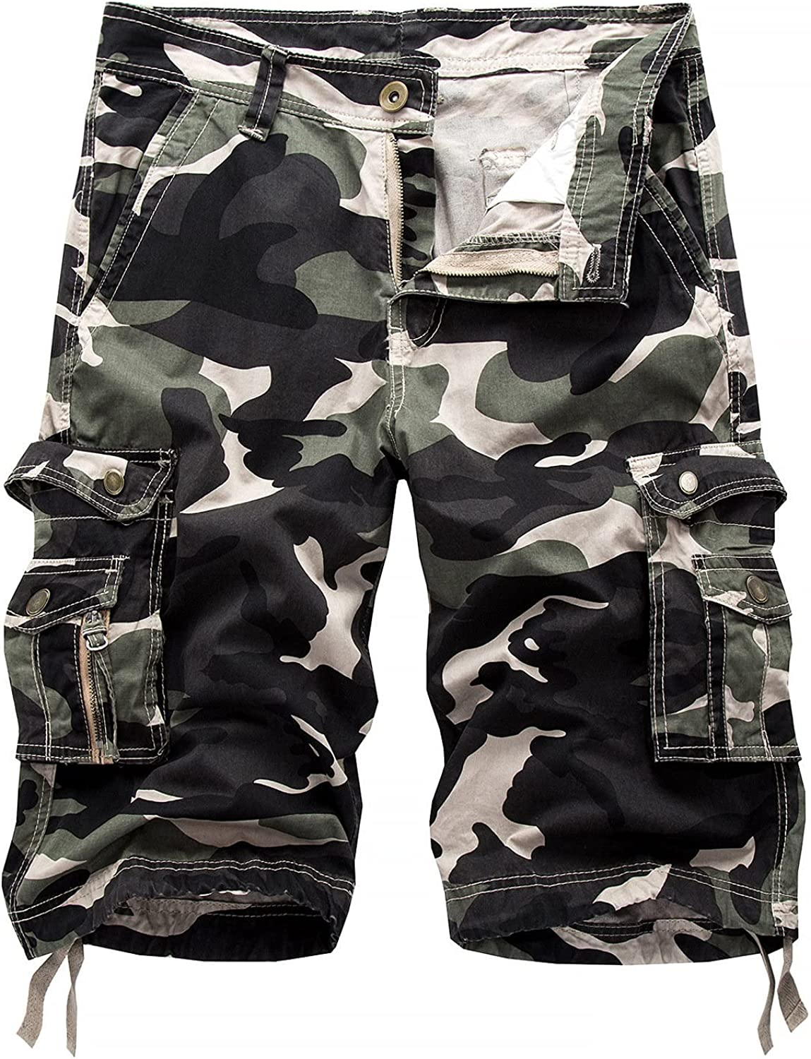 Mens Camo Multi Shorts Relaxed Cargo Pockets Work Short-pant Outdoor Casual Slim Fit Cotton Camouflage Short