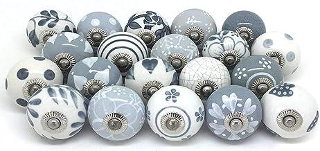 Knop voor kast, lade, van keramiek, handbeschilderd, 25 stuks grijs & wit knop grijs wit Pushpacrafts
