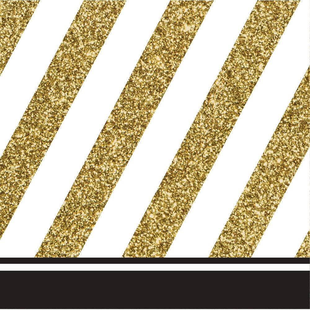 Pack of 192 Gold and White 正規販売店 with 日本未発売 Striped Border 2-Ply Party Black