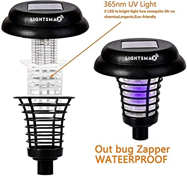 LIGHTSMAX Solar Powered Light Mosquito & Insect Bug Zapper Cordless LED/UV Radiation Repellent Lamp | Fly Pests Outdoor Stake Landscape Fixture for Camping, Gardens, Pathways, and Patios (8)