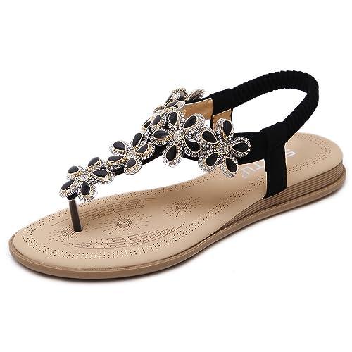 1174fe227990 DolphinBanana Bohemian Glitter Summer Flat Sandals Prime Thongs Flip Flop  Shoes Pink
