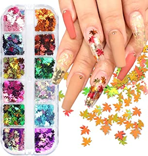 12 Colors Fall Leaf Nail Art Glitter Sequins - 3D Holographic Flake Metallic Maple Leaf Shaped Gold Red Yellow Nail Design Makeup DIY Nails Supply Glitter Decorations