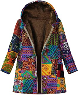 MEEYA Winter Cotton & Linen Thicker Coat for Women, Vintage Printed Warm Pockets Zipper Hooded Overcoat Outwear