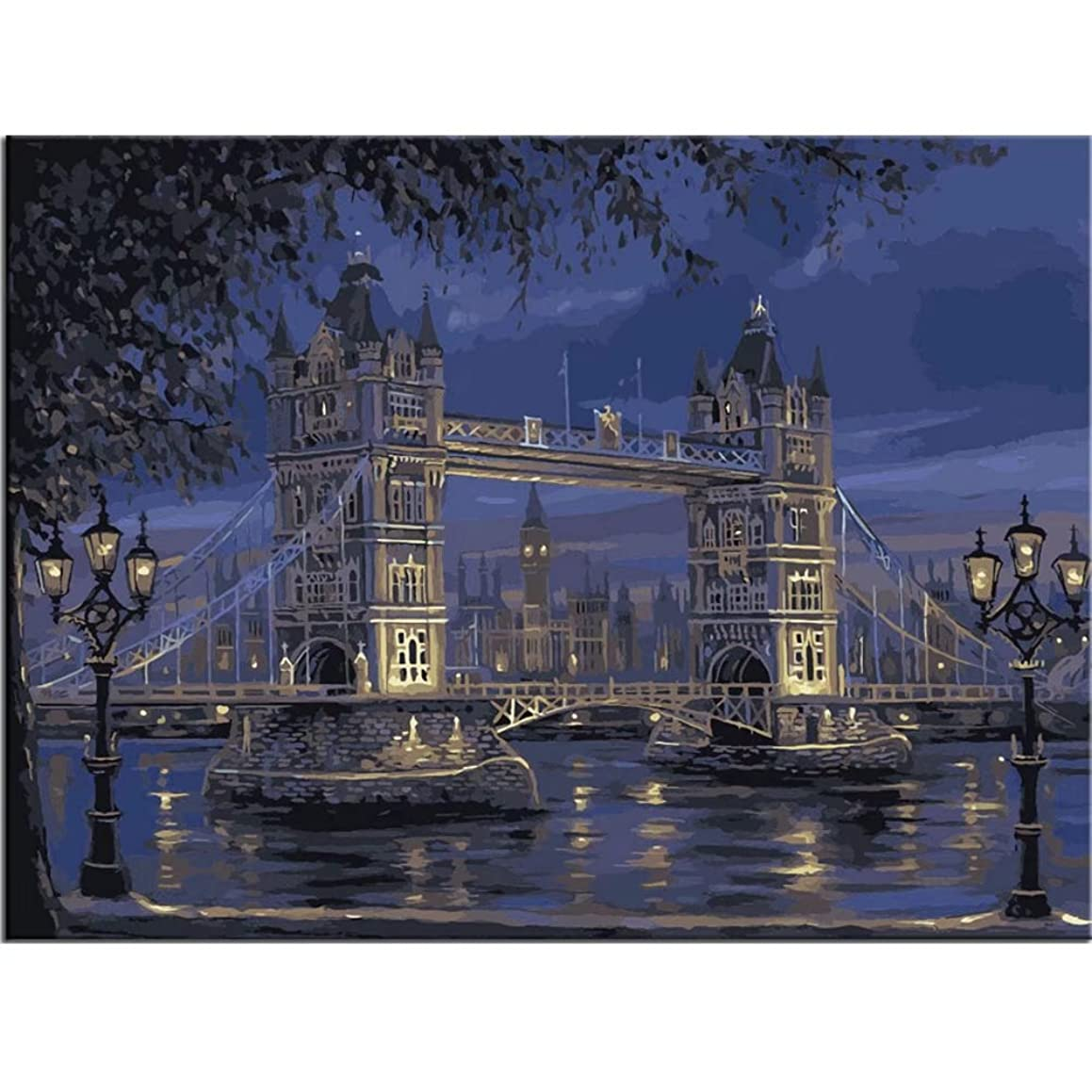 Paint by number Kit for Adults Beginner Landscape DIY Oil Painting on Linen Canvas with Brush Paints Pigment No Blending No Mixing fantastic Pictures Painting London Tower Bridge 16x20 Inch Frameless