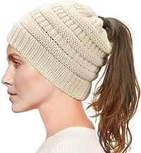 Dafunna Mujer Gorros de Punto Coleta Beanie Sombrero Invierno Suave Cálido Elástico Ponytail Beanie Hat