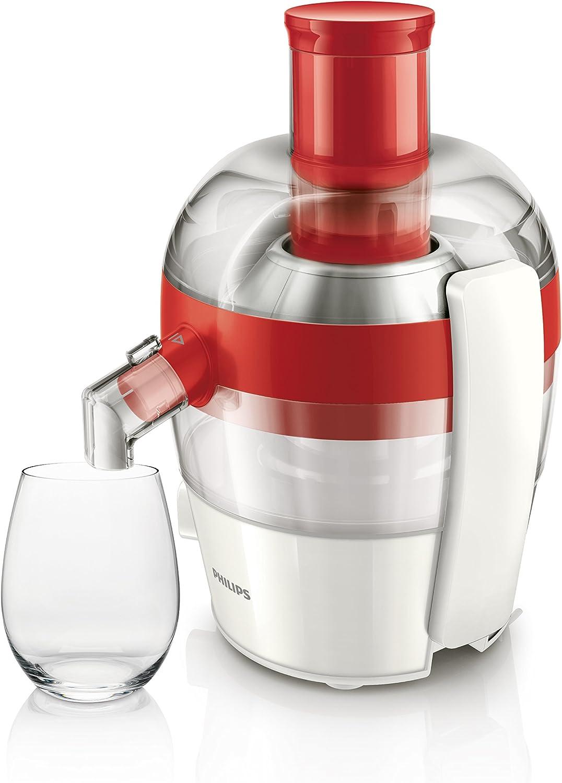 Philips HR1832/00 Centrifugeuse Quickclean Nettoyage 1,5 L de Jus en 1 Extraction Puissance:500 W Noir Rouge, Transparent, Blanc