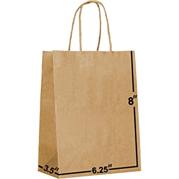 [100 Bags] 6.25 X 3.5 X 8 Brown Kraft Paper Gift Bags Bulk with Handles. Ideal for Shopping, Packaging, Retail, Party, Craft, Gifts, Wedding, Recycled, Business, Goody and Merchandise Bag (Brown)