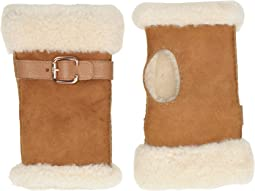 Fingerless Water Resistant Sheepskin Gloves with Belt