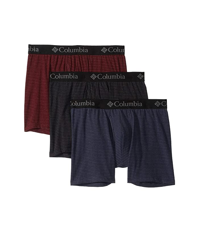 Columbia  Performance Cotton Stretch Stripe Boxer Brief (Port Royale/India Ink/Black) Mens Underwear