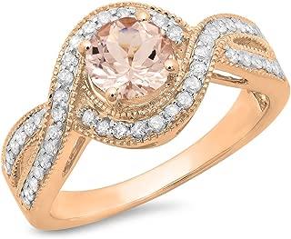 14K Round Cut Morganite & White Diamond Ladies Twisted Split Shank Bridal Halo Engagement Ring, Rose Gold