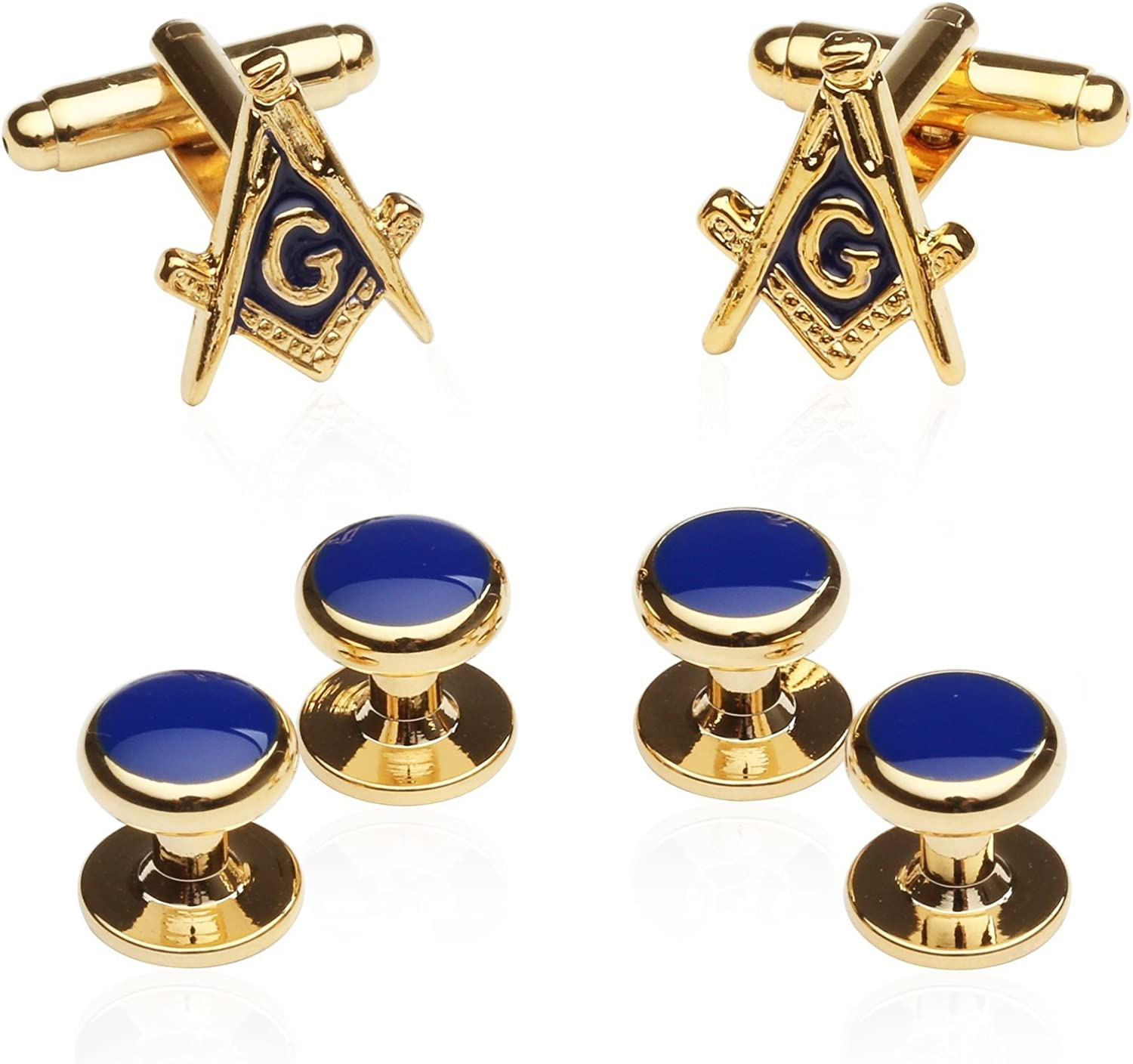 Men's Gold Masonic Tuxedo Formal Set Freemason Cuff Links and Studs Set with Travel Presentation Gift Box Tux Shirt Accessories Attire Special Occasions