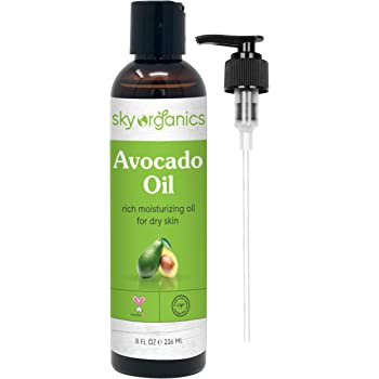 Avocado Oil by Sky Organics (8oz) 100% Pure Natural & Cold-Pressed Avocado Oil - Ideal for Massage Cooking and Aromatherapy - Rich in Vitamin E & Oleic Acid