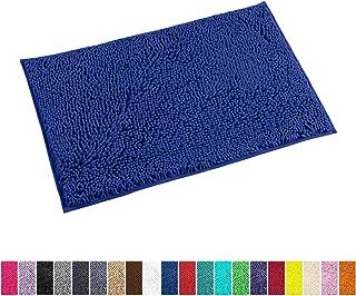 LuxUrux Bath Mat-Extra-Soft Plush Bath Shower Bathroom Rug,1'' Chenille Microfiber Material, Super Absorbent Shaggy Bath Rug. Machine Wash & Dry(20 x 30, Blue)