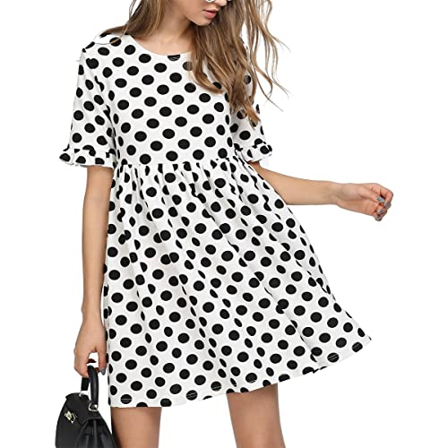 3d457bf2f Romwe Women's Comfy Short Sleeve Smock Loose Tunic Flare Swing Party Dress