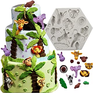 Bozoa Animal Molds Cake Decorating Supplies Animal Silicone Molds for Chocolate DIY Cookies Mousse Candy Ice Handmade Soap Animal Fondant Molds (Elephant Lion Giraffe Monkey Animal Forest)