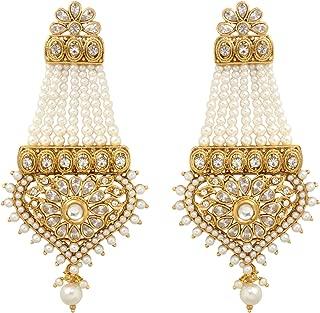 SANARA Indian Bollywood Gold Plated Exclusive Pearl Kundan Polki Traditional Women Wedding Earrings Set (Lct)