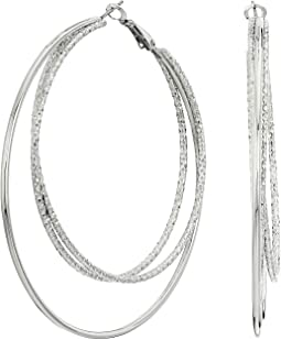Triple Wire Clutchless Hoop Earrings