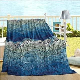 Aquatic Soft Blanket,Conceptual Ocean Themed Artwork Hand Drawn Waves Seascape Maritime,Sofa Sleeper Queen Blue Light Blue Mint Green 60