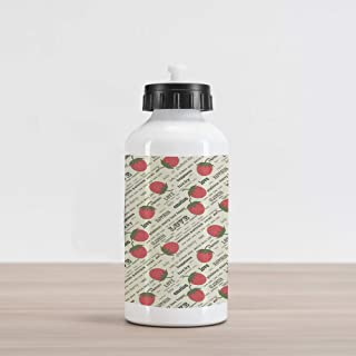 Ambesonne Fruits Aluminum Water Bottle, Retro Valentine Theme with Strawberry Love Happiness Merry Lucky Image, Aluminum Insulated Spill-Proof Travel Sports Water Bottle, Eggshell Ruby Army Green