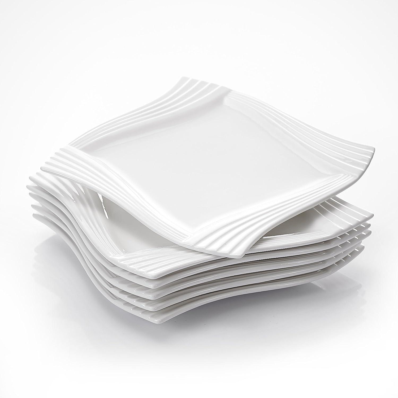 MALACASA, Serie Amparo, 6 teilig Set Cremeweiß Cremeweiß Cremeweiß Porzellan Flachteller Speiseteller Essteller 10 Zoll   25,5x25,5x2 cm für 6 Personen B075DXHSK7 1c18f4