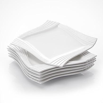 Preisvergleich für MALACASA, Serie Amparo, 6 teilig Set Cremeweiß Porzellan Flachteller Speiseteller Essteller 10 Zoll / 25,5x25,5x2 cm für 6 Personen
