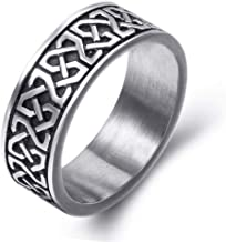 8mm Men's Celtic Knot Stainless Steel Ring Band Jewelry US Size 8-15