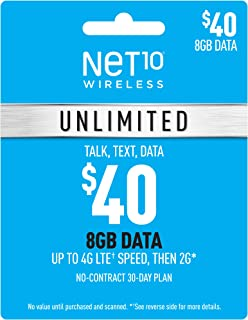 Net10 Wireless $40 Unlimited 8GB Plan Refill Card (Mail Delivery)