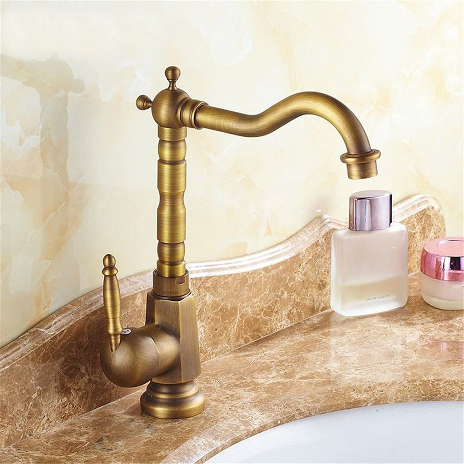 Lpophy Bathroom Sink Mixer Taps Faucet Bath Waterfall Cold and Hot Water Tap for Washroom Bathroom and Kitchen Antique Copper Hot and Cold Valve 360° redating Single Hole Single Handle C