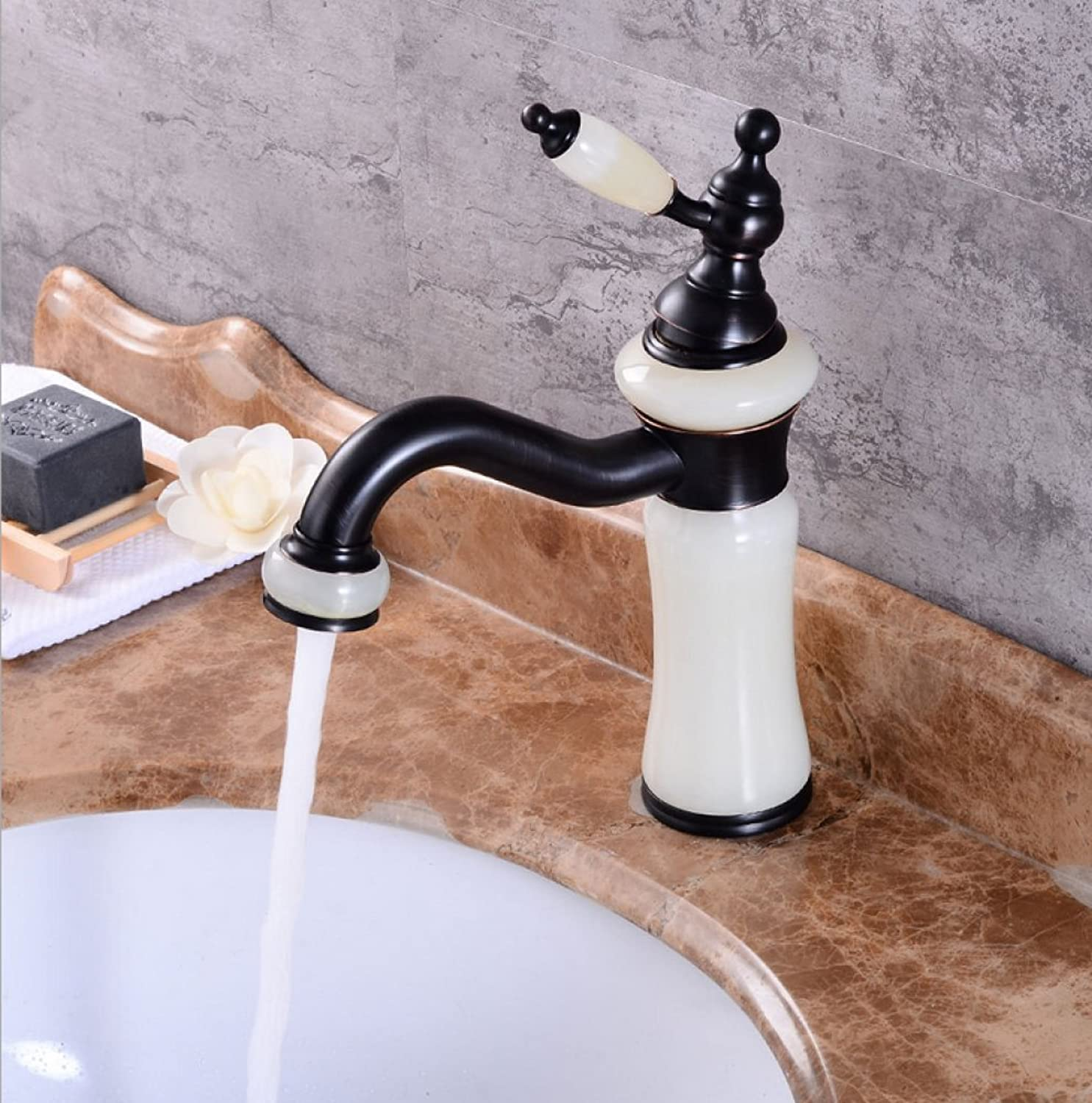 GZF Bathroom Sink Taps Faucet European black ancient washbasin hot and cold faucet natural jade faucet bathroom redating vintage washbasin faucet mixing faucet washbasin faucet single-unit