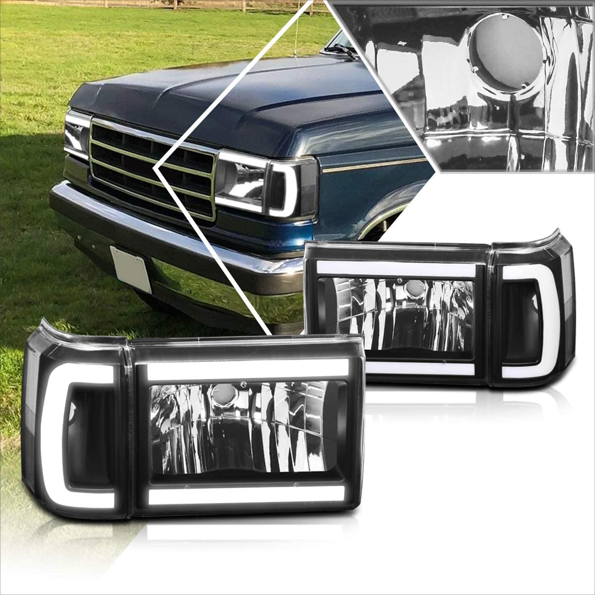 2Pcs LED Max 79% OFF DRL Headlight National uniform free shipping Headlamp 87-91 Assembly with Compatible