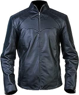 Men's Batman Begins Christian Bale Black Leather Jacket (XXXX-Large)