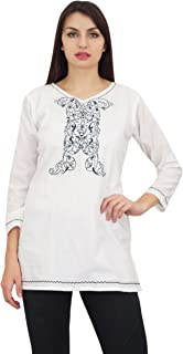 Phagun Women's Full Sleeve Embroidered Style Tunic Casual Summer Top