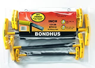 Bondhus 13138 Set of 10 Balldriver and Hex T-handles, sizes 3/32-3/8-Inch