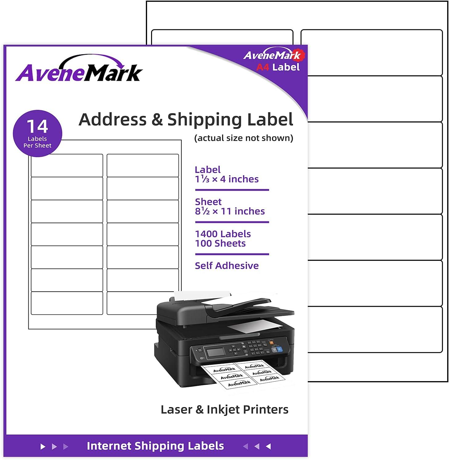 AveneMark Easy Price reduction Peel Shipping Mailing Laser P Bargain sale Inkjet for Labels