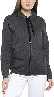Scott International Women's Premium Cotton Pullover Hoodie Sweatshirt with Zip - Charcoal