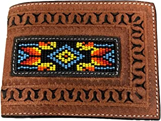 Twisted X Rough Out Leather Brown Beaded Wallet