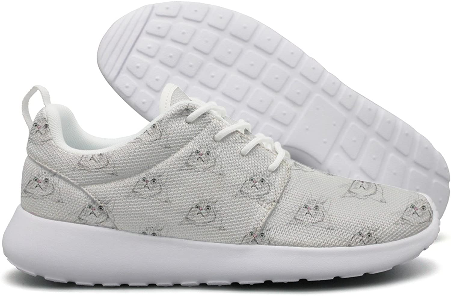Hoohle Sports Surprised Cute Cat Face White Background Women Roshe One Flex Mesh Men Running shoes