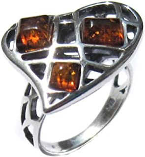 Heart Collection Honey Amber and Sterling Silver Ring Sizes 5,6,7,8,9,10,11,12